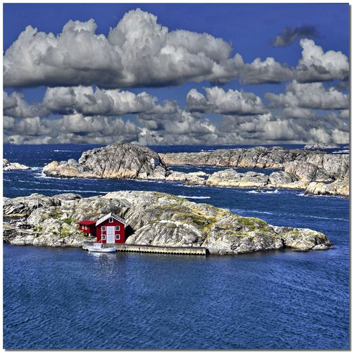 red house rocky shore, Tjorn, Vastra Gotaland, Sweden