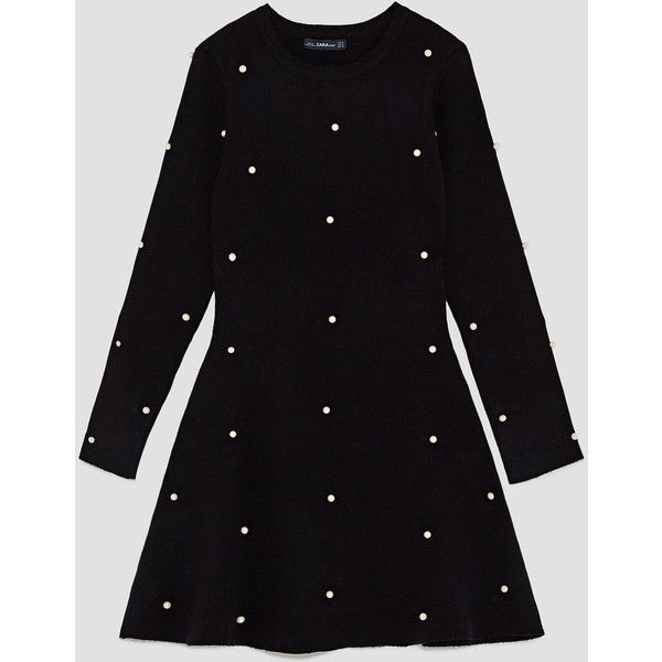 SKATER DRESS WITH PEARL BEADS - View all-DRESSES-WOMAN | ZARA United... (365 GTQ) ❤ liked on Polyvore featuring dresses