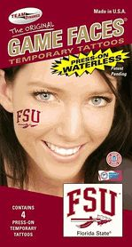 Florida State FSU and Spear Game Faces Waterless Temporary Tattoos