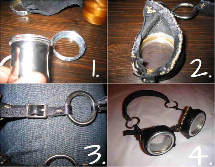 Steampunk DIY Goggles: 1. The cut-off threads of a cheap plumbing coupler from a home supply store become the lens holders, while the actual lenses are cut-to-size rings of plastic sheeting.  2. Creative use of leather adds dimension to the lens holders and forms the headband;  3. The headband is finished with metal rings and a simple buckle in back.  4. Voila! A new pair of awesome Steampunk goggles.