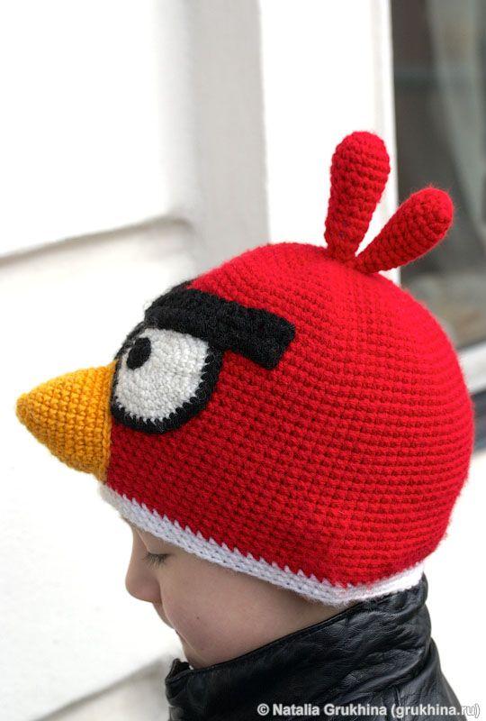 Вязаная крючком детская шапочка Angry Birds
