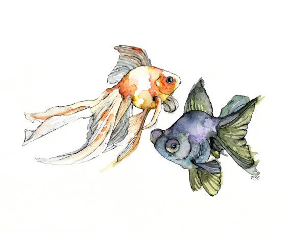 """Watercolor Fish Print - Painting titled, """"Japanese Goldfish"""", Asian Decor, Fish Print, Fish Painting, Goldfish Painting, Goldfish Art"""