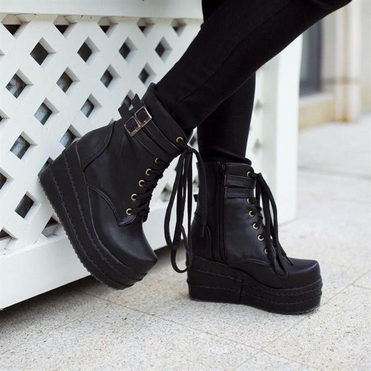 Women's Platform Wedges Buckle Decor Lace Up Ankle Boots