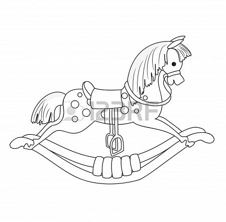 Outlined Rocking Horse  Vector  Stock Photo - 15103178