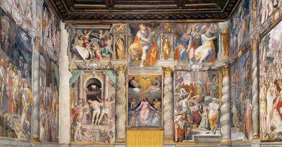Oratorio di Santa Lucia del Gonfalone, 1569-77, Roma.  La decorazione dell'interno fu realizzata da Federico Zuccari, Raffaellino da Reggio, Bertoja, Marco Pino, Francesco Roviale.