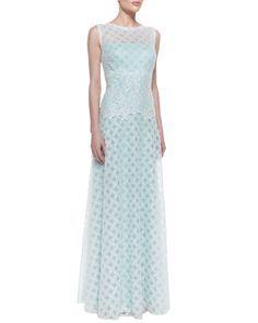 Tadashi Shoji Sleeveless Latticework Lace Waist Gown, Mint/White