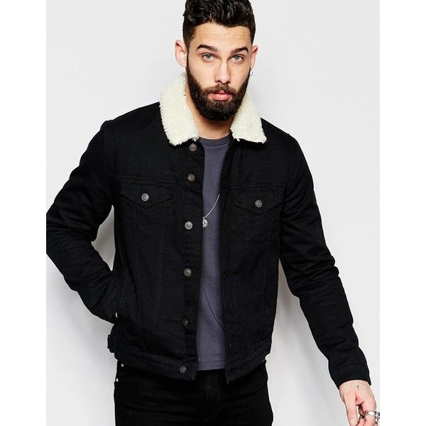 ASOS Denim Jacket With Fleece Collar In Black Wash (£60) ❤ liked on Polyvore featuring men's fashion, men's clothing, men's outerwear, men's jackets, black, asos mens jackets, mens tall jackets, mens lined denim jacket, mens sherpa lined jacket and mens lined jean jacket
