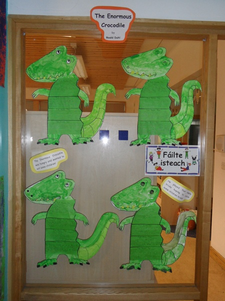 """Students at the Griffeen Valley Educate Together National Primary School made these """"Enormous Crocodile"""" projects and wrote about the story in the crocodile's body section."""