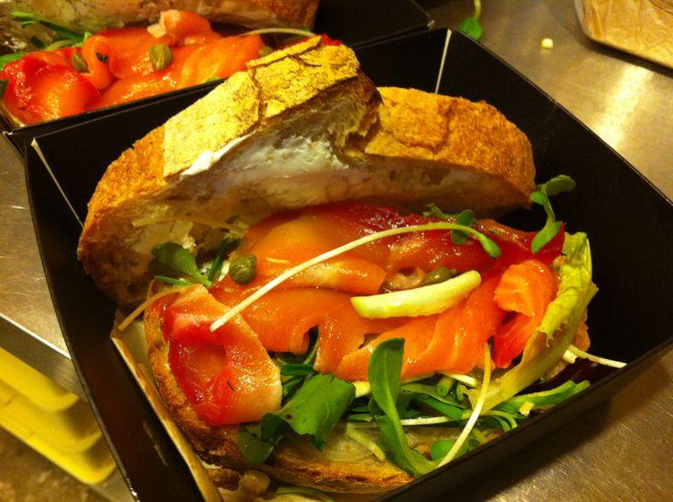 Home made salmon gravlax with  rustic bread & Korean herb  New sandwich in jam&bread