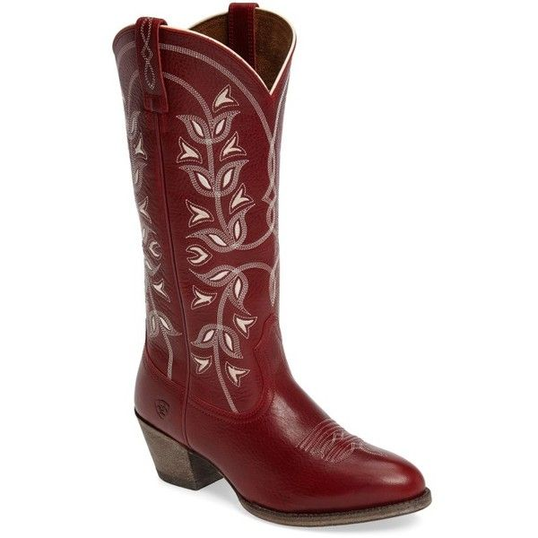 Women's Ariat 'Desert Holly' Embroidered Western Boot ($210) ❤ liked on Polyvore featuring shoes, boots, rosy red leather, leather western boots, red cowboy boots, embroidered boots, embroidered western boots and cowgirl boots