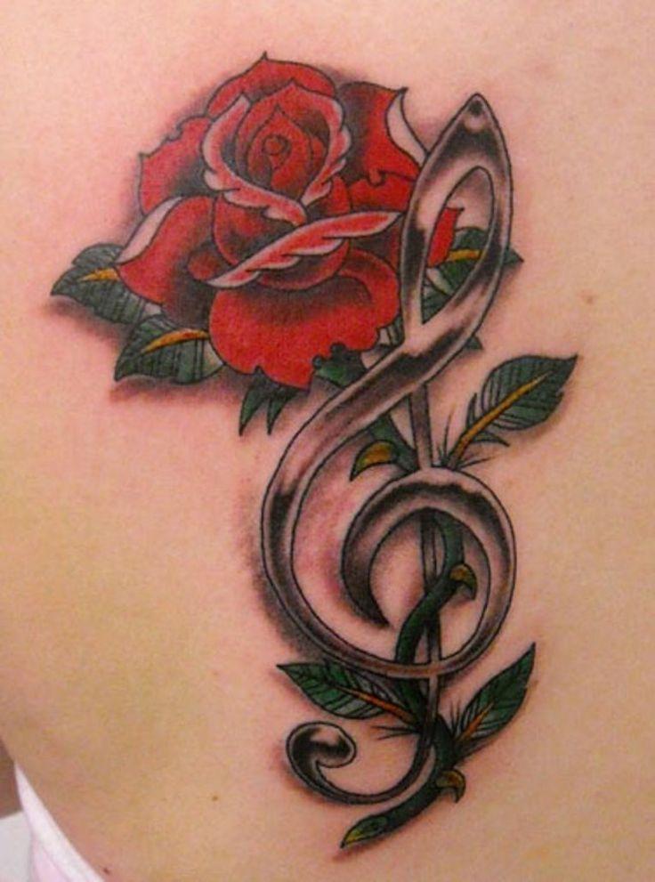 Treble Clef Rose Tattoo