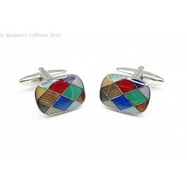 Harlequin Diamonds Cufflinks - High quality enamel harlequin effect cufflinks.