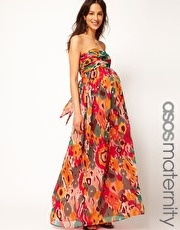 ASOS Maternity Exclusive Bandeau Maxi Dress In Print