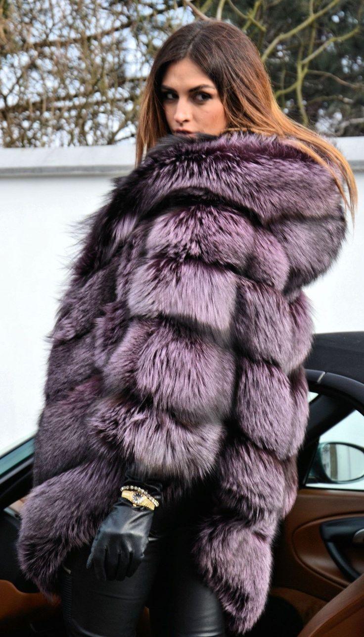 Violet Royal Saga Silver Fox Fur Poncho Like Sable Mink