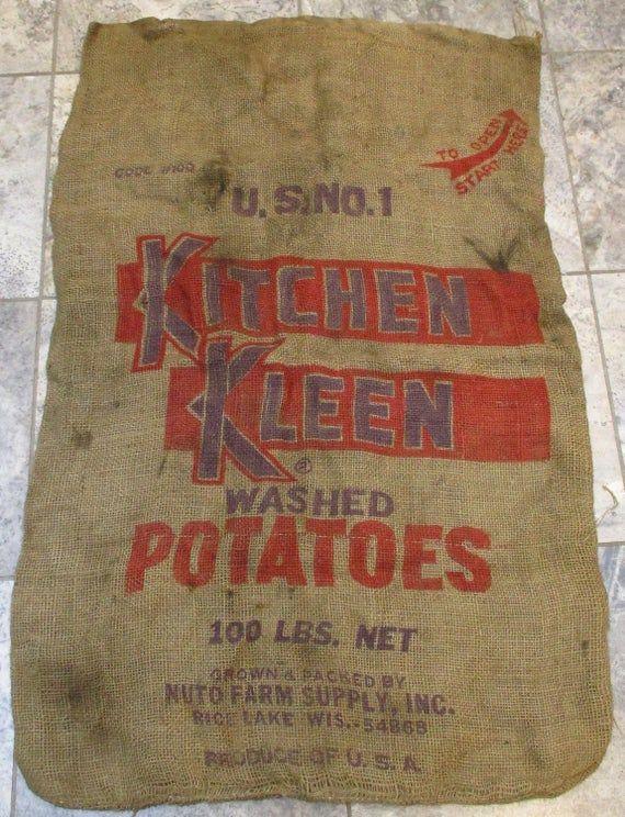 Burlap Potato Sack Retro Kitchen Kleen Brand Potatoes Etsy Potato Sack Burlap Sacks Burlap