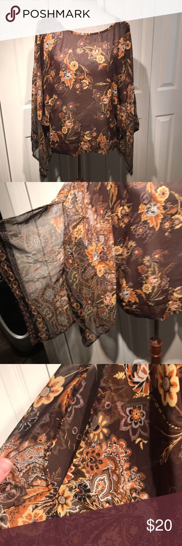 Boho, batwing cold shoulder sheer floral top Cute boho top with batwings and cold shoulder. Sheer. Size M Chenauli Tops Blouses
