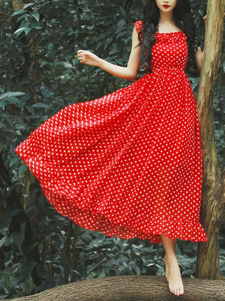 Red, Polka Dot, Spaghetti strap, Ruffle Hem Dress, Maxi Dress