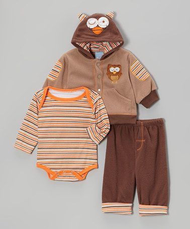 Another great find on #zulily! Brown & Tan Owl Hoodie Set - Infant by Duck Duck Goose #zulilyfinds