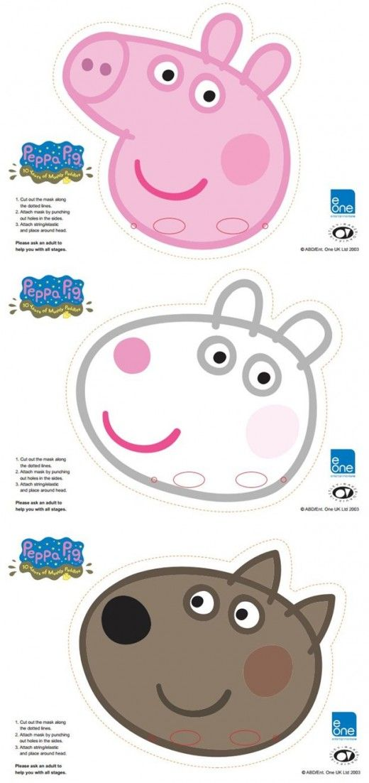 Click here for the free peppa pig face masks