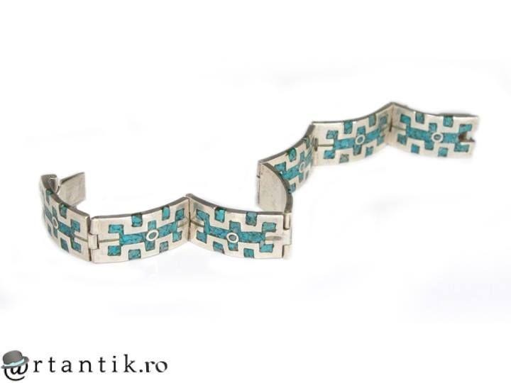 Bijuterii mexicane - bratara mexicana Azteca - argint si mozaic de turcoaze - manufactura de atelier Taxco www.artantik.ro