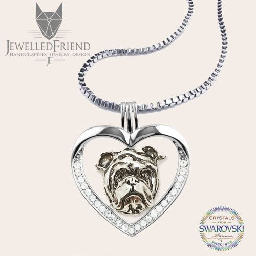 English bulldog jewelry necklace pendant with swarovski crystal by jewelledfriend. Explore more products on http://jewelledfriend.etsy.com