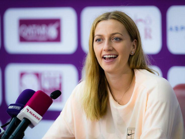 Petra Kvitová - #PetraKvitova 2018 WTA Katar Otvorená v tlačovej konferencii v Dauhe