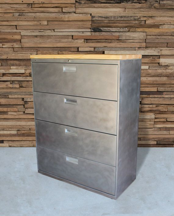 Refinished Large 5 Drawer Metal Filing Cabinet W Wood Top Etsy Filing Cabinet Metal Filing Cabinet Industrial Office Decor