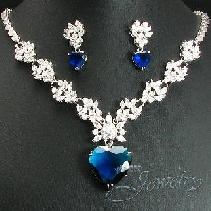Royal Blue Created Sapphire Heart Necklace Earrings Bridal Jewelry Set