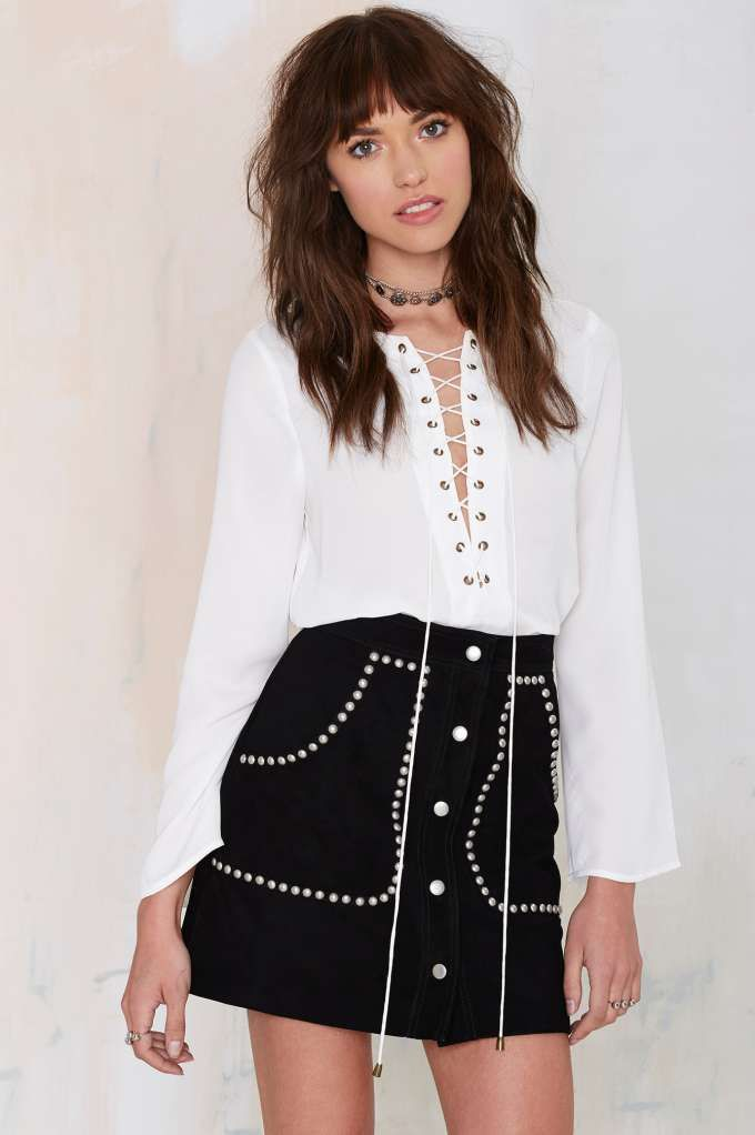Nasty Gal Electric Ladyland Suede Skirt - Black