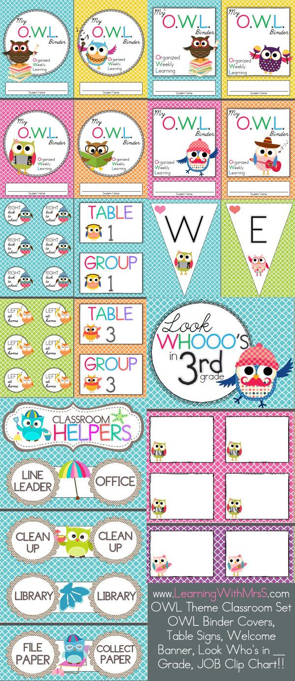 OWL classroom decor bundle!  I made this for my classroom this year :)  includes binder covers, welcome banner, table signs, student labels, look whooo's in __ grade, and a BEAUTIFUL OWL classroom jobs clip chart :) :)
