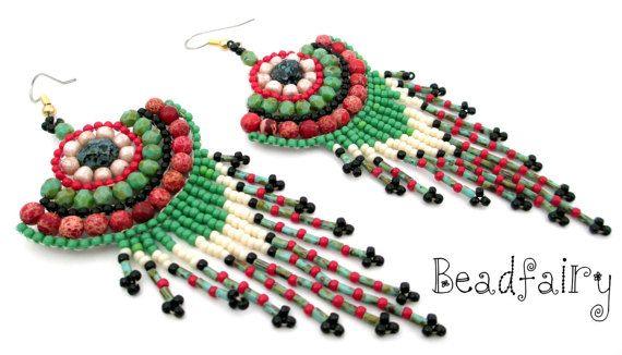 Eucalyptus Earrings by BeadfairyStore on Etsy