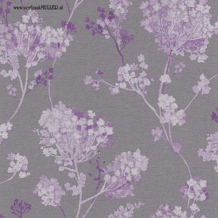 Non Woven Wallpaper Grey Purple White Floral Design Rasch Florentine  Wallpaper 449235