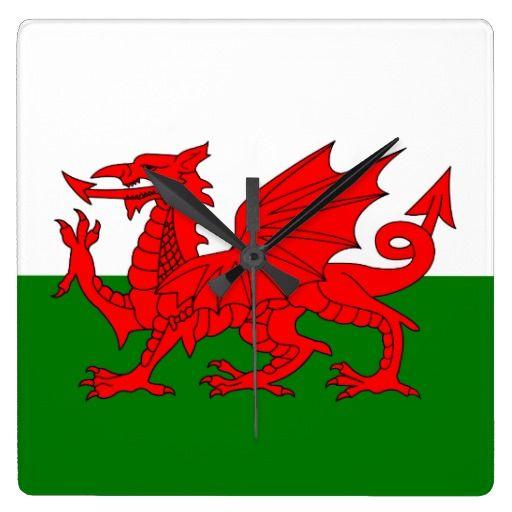 Wales flag wall clocks