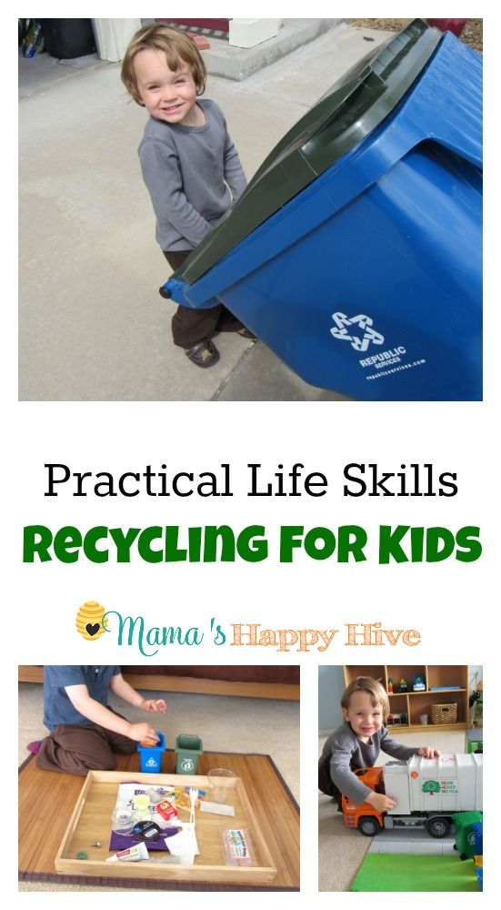 Enjoy 6 Montessori Inspired activities that teach practical life skills and recycling for kids. - www.mamashappyhive.com