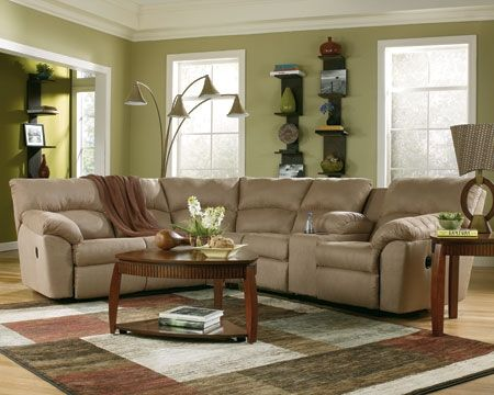 Mocha Sectional Living Room Sectional Sofa With Recliner