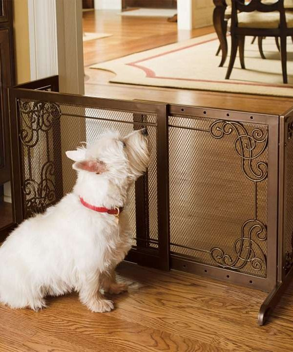 Designed to enhance your home's fine decor while keeping pets safely out of the way.Mesh Pets, Gates Barrier, Steel Mesh, 22H, Dogs Gates, Free Stands Steel, Fireplaces Screens, Pets Gates, Pets Products