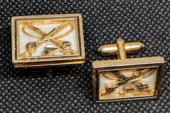 Swank Copper Design in Silver Tone Abstract Cufflinks and Tie Clip Mid Century Modernist Cuff Links and Tie Bar
