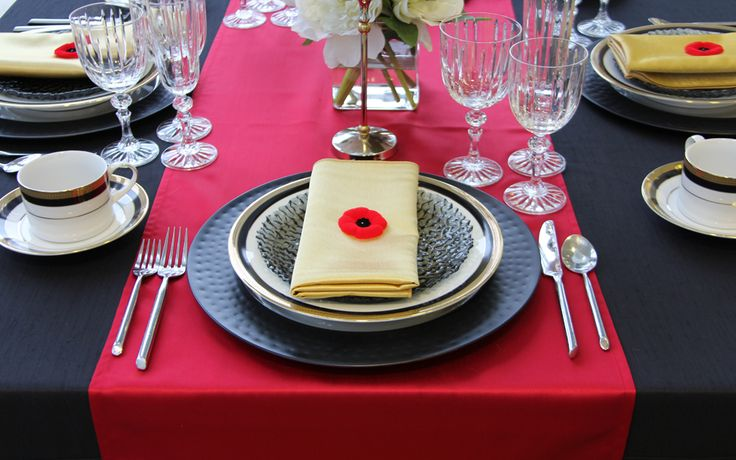 Black Shangri-La Table Linen, Red Satin Runner, Stainless Steel Hammered Charger, Napoleon China, Charcoal Bubble Plate, Milano Flatware, Empire Crystal and Gold Satin Napkin | Chair-man Mills Photography: By Debbie Kriz