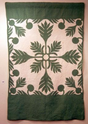 "Margo Morgan, Island of Oahu, Hawaii   Breadfruit  55"" x 80"", 1930s.: Hawaiian Quilt, Texture, Costume, Textile, Island"