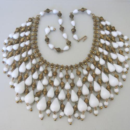 Vtg-1960s-Signed-Hobe-Egyptian-Revival-White-Acrylic-3-Bib-Fringe-Necklace