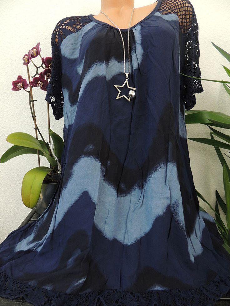 Lace Hollow Tie-dyed Patchwork Plus Size Blouse