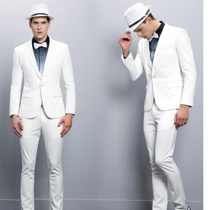 Handsome High Quality Skinny Mens Blazer White Slim Fit Groom Suits Fashion Party Suits For Men (Jacket+Pants)
