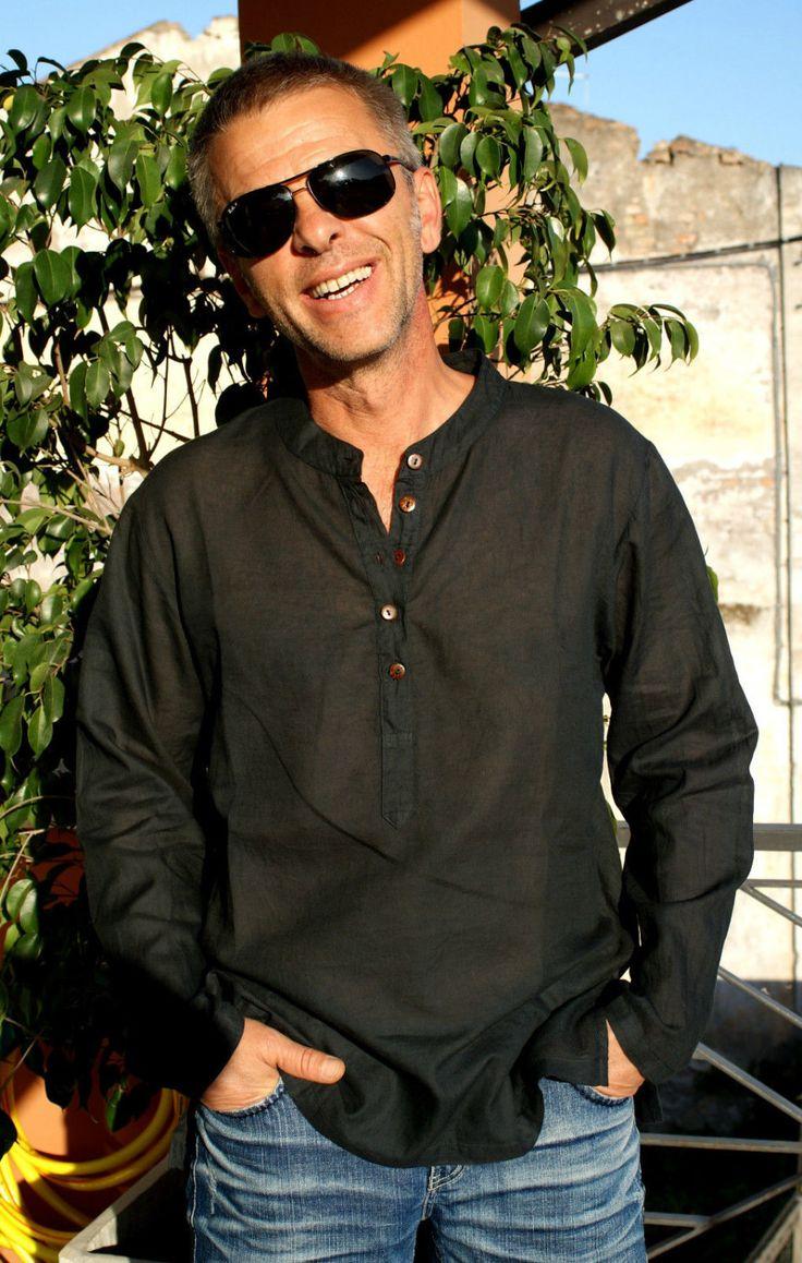 Amazing Handmade Man Shirt Black Color Long Sleeve All Cotton MISS SUMMER Koh Lipe Camicia Tunica Uomo Manica Lunga Cotone Nero Taglia M L di BeHappieWorld su Etsy