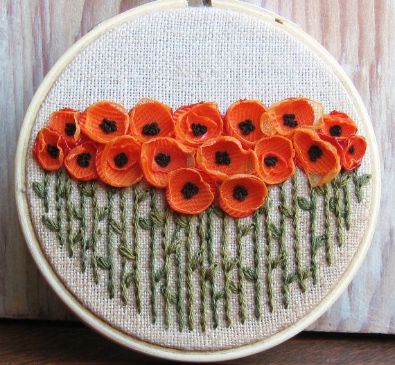 Embroidered orange poppies (ribbon and thread) | #embrodery #poppies