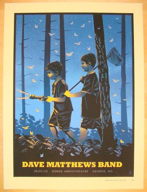 "Dave Matthews Band - silkscreen concert poster (click image for more detail) Artist: Methane Studios Venue: Gorge Amphitheatre Location: George, WA Concert Date: 9/1/2013 Size: 18"" x 24"" Edition: Arti"