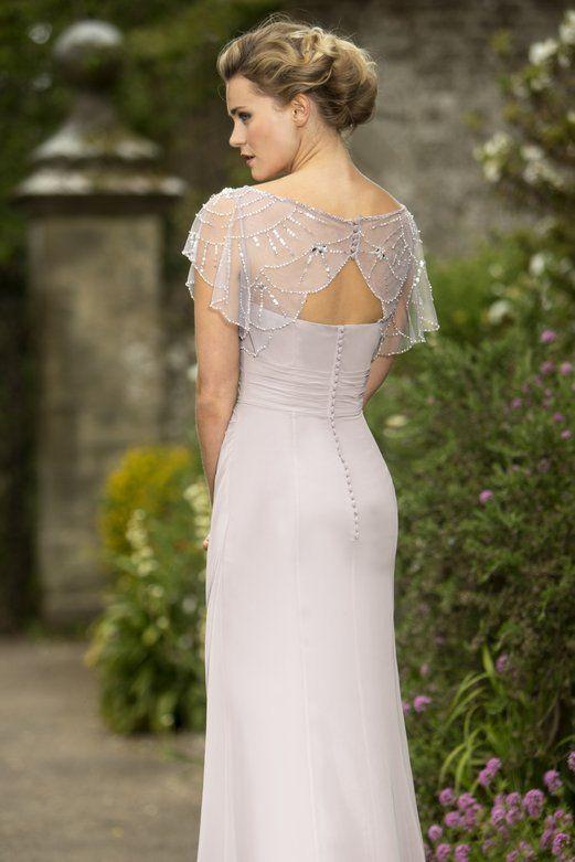 Seauin Beaded Scoop Neck Sheath Light Lilac Chiffon Long Bridesmaid Dress_1