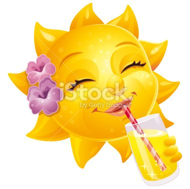 sunshine face | Cute Female Cartoon Summer Sun With Human Face And Drink Royalty Free ...