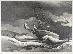 After the Blow, Thomas Hart Benton, 1946, lithograph, 9 3/4 in. x 13 7/8 in. Currier Museum of Art.