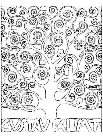 """Colorear """"El árbol  de la vida"""". Gustav Klimt"""