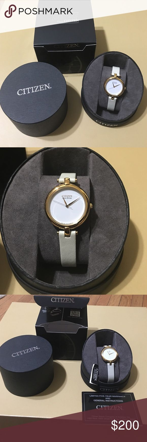 BNWT Citizen echo-Drive lady's watch. It starts with a simple, yet revolutionary concept: a watch that never needs a battery. Citizen Eco-Drive technology harnesses the power of light-from any natural or artificial light source-and converts it into energy. BEAUTIFUL BRAND NEW Gold with white face and gold hands eco-drive NEVER needs a battery. Brand new in perfect working order. Comes in box with instruction and warranty book. Citizen Accessories Watches